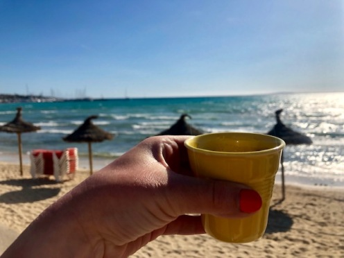 Carajillo (espresso with whiskey or rum) S'Arenal Beach