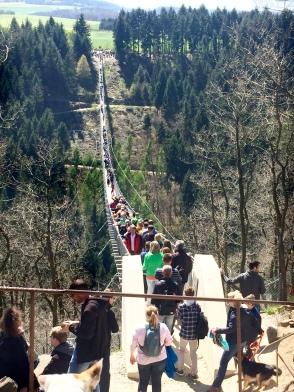 Crowded Geierlay Bridge
